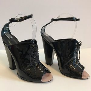 GIVENCHY Black Patent-Leather Lace-Up Block-Heels